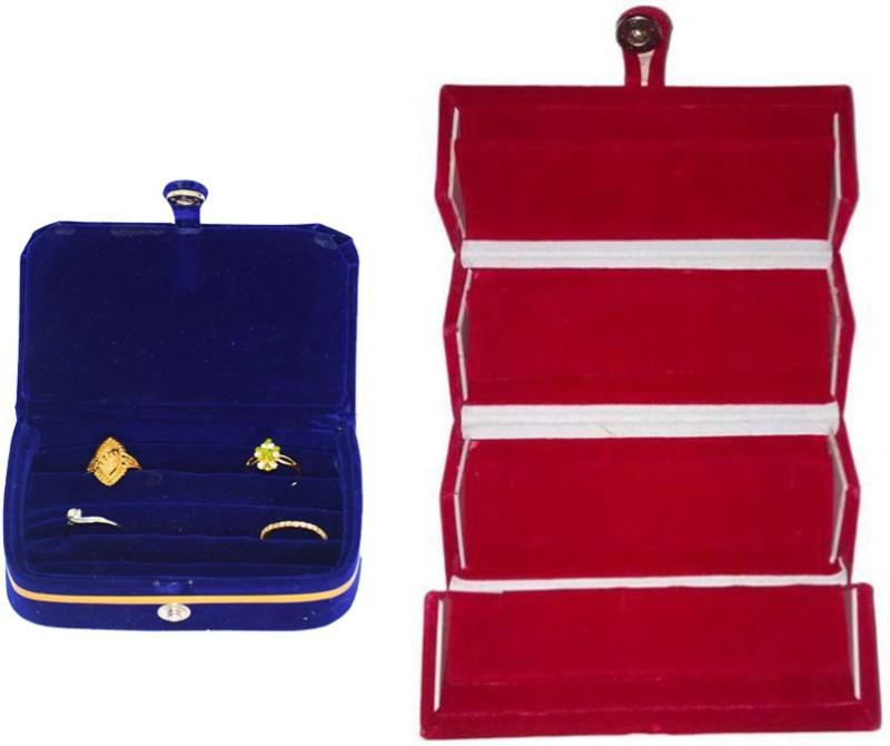 Aadhya Combo of Ring & Earring folder pack of 2 Vanity Box(Blue, Red)