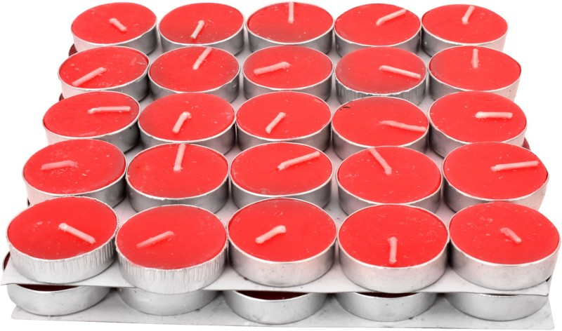 Apollo + Set of 50 pcs Wax Tealight Candles with 3 to 3.5 Hrs Burn Time (Red,Pack of 50), High Quality Wax Candle(Red, Pack of 50)