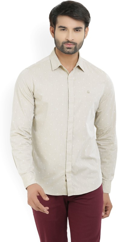 United Colors of Benetton Mens Printed Casual Beige Shirt
