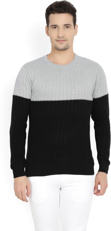 United Colors of Benetton Self Design Round Neck Casual Mens Black, Grey Sweater