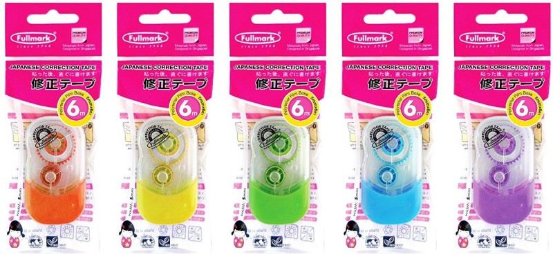 fullmark E TYPE 5 mm x 6 mm CORRECTION TAPE(Set of 5, Assorted color)
