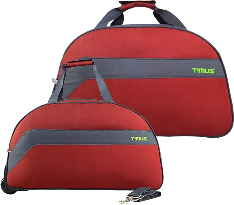 TIMUS BOLT 55 & 65 CM Rust 2 Wheel Duffle Trolley For Travel SET OF 2 ( Medium Check-in Luggage ) Duffel Strolley Bag(Red)