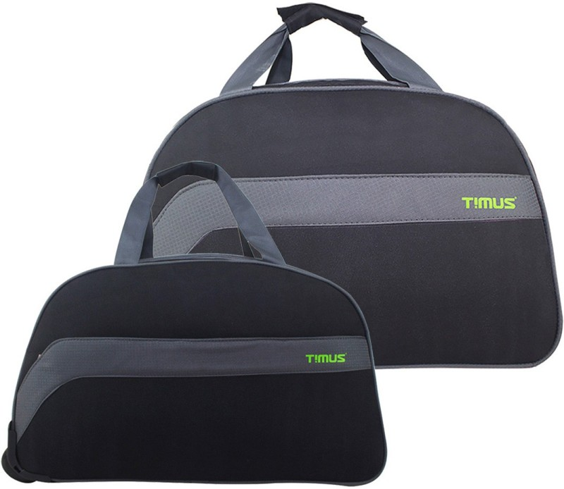 TIMUS BOLT 55 & 65 CM Black 2 Wheel Duffle Trolley For Travel SET OF 2 ( Medium Check-in Luggage ) Duffel Strolley Bag(Black)