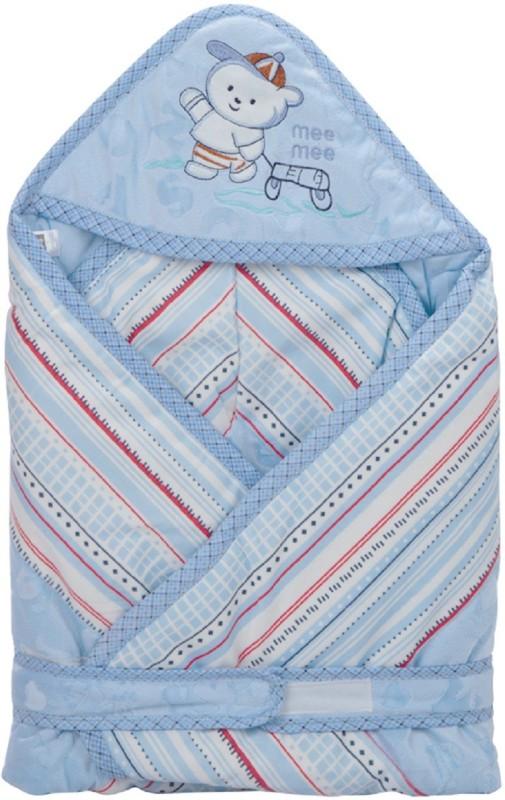 MeeMee Plain Single Hooded Baby Blanket Blue(Pack of 1)