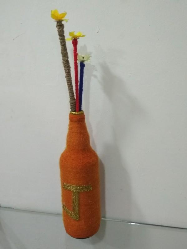 99rs Orange Wool Crafted Bottle With Sticks 1000 ml Bottle(Pack of 1, Orange)