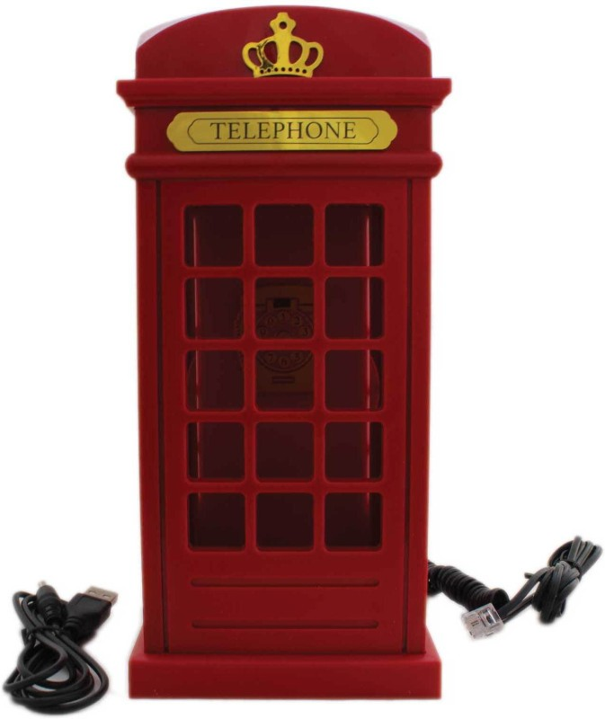 Tootpado Landline Telephone London Phone Booth Shape - Red (ELEj032) - Office Phone Corded Landline Phone(Red)