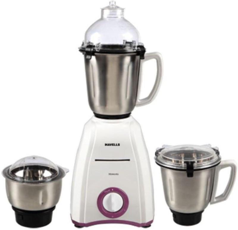 Havells Momenta 600 W Mixer Grinder 600 Mixer Grinder(White, 3 Jars)