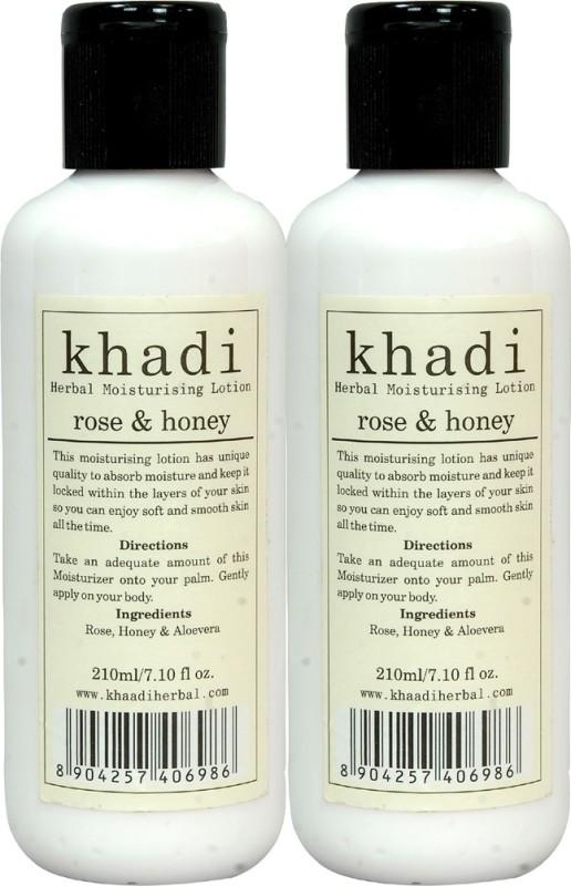 Khadi Herbal Rose & Honey Moisturising Lotion 420 ML ( Pack 2 )(420 ml)