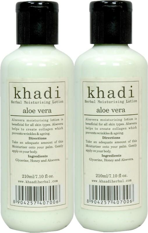 Khadi Herbal Aloe Vera Moisturising Lotion 420 Ml ( Pack Of 2 )(420 ml)