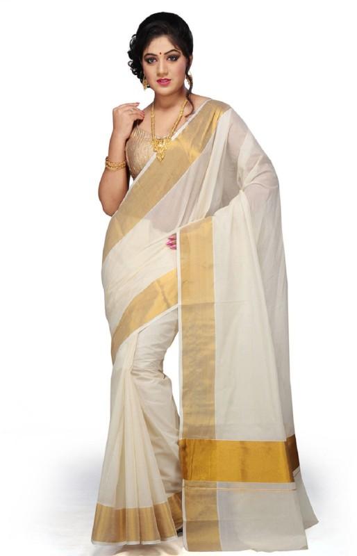 Selvamani Tex Solid, Plain Kasavu Cotton Saree(White)