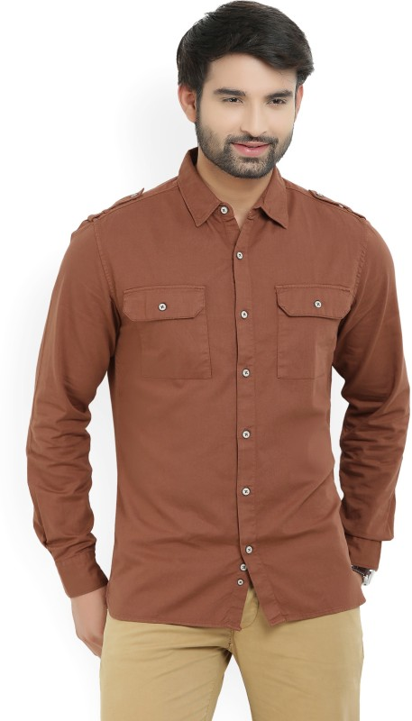 United Colors of Benetton Men Solid Casual Brown Shirt