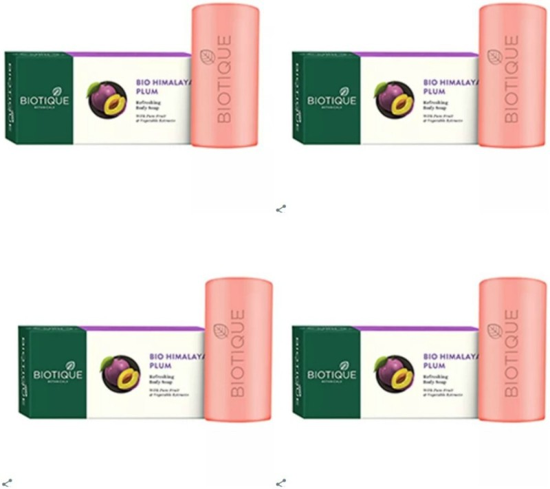 Biotique Bio Himalayan Plum Refreshing Body Soap (Pack 4) (150 * 4 =600g)(150 g, Pack of 4)