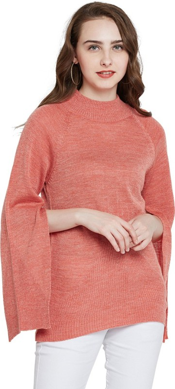 Marie Claire Solid Round Neck Casual Women Pink Sweater