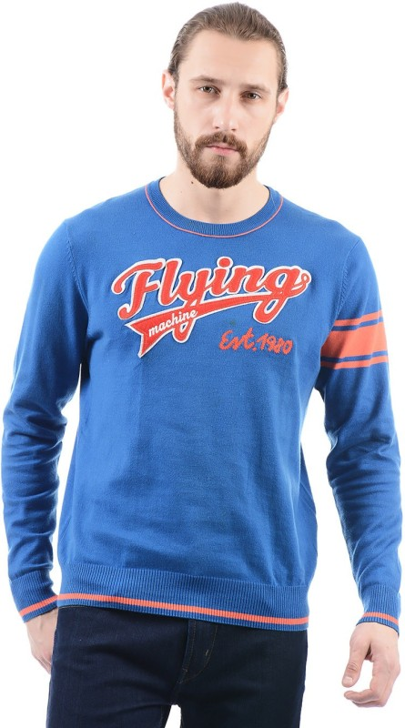 Flying Machine Printed Round Neck Casual Men Blue Sweater