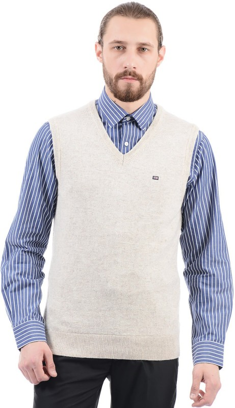 Arrow Sport Solid V-neck Casual Men Beige Sweater