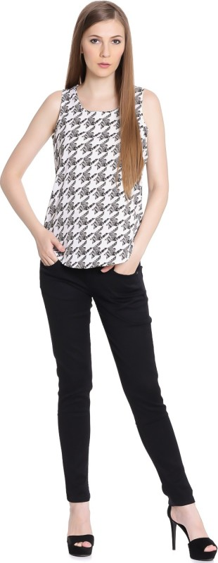 United Colors of Benetton Casual Sleeveless Printed Womens Black Top