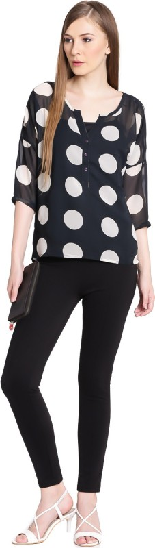United Colors of Benetton Casual 3/4th Sleeve Printed Womens Black Top