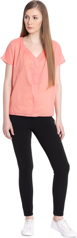 United Colors of Benetton Casual Half Sleeve Solid Womens Beige Top