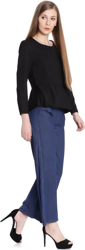 United Colors of Benetton Casual 3/4th Sleeve Solid Womens Black Top