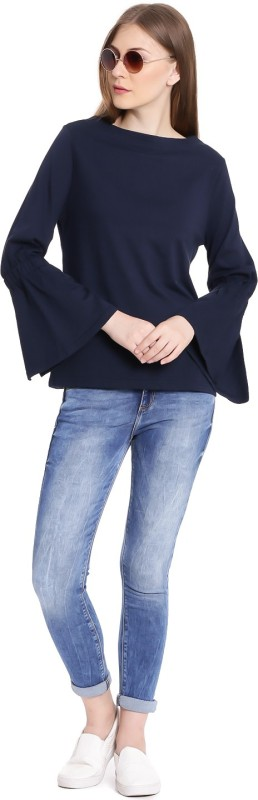United Colors of Benetton Casual Full Sleeve Solid Womens Black Top