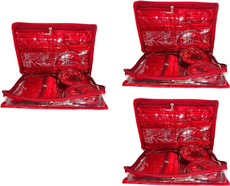 Aadhya 2 bangle jewellery pack of 3 Vanity Box(Red)