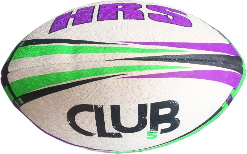 HRS Club Rugby Ball - Size: 5(Pack of 1, Purple, Green)