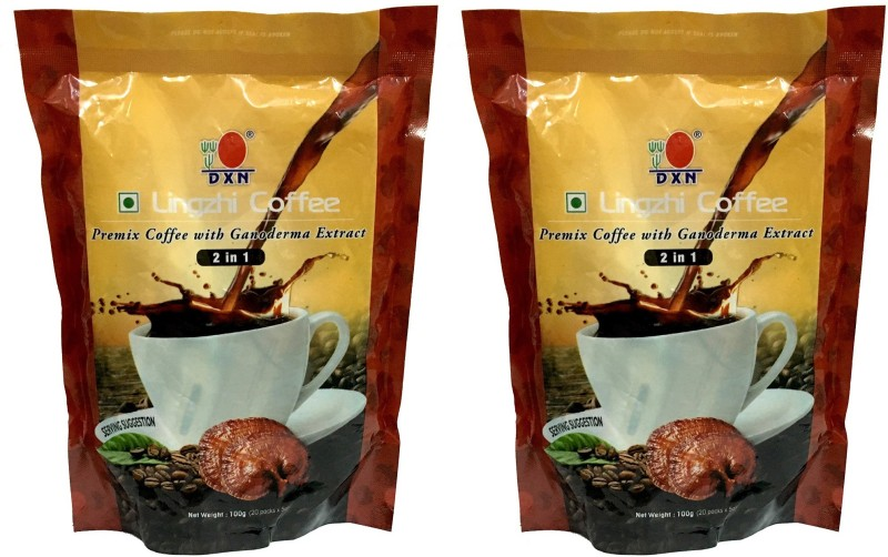 DXN LINGZHI COFFEE 2 in 1 (Premix coffee with ganoderma extract) 40 sachet of 5gm coffee 200gm(Pack of 2*20 sachet) Instant Coffee(2 x 100 g)