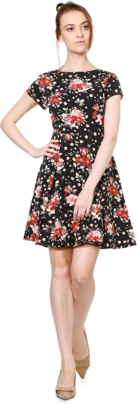 Allen Solly Women Fit and Flare Black Dress