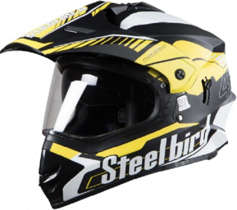 Steelbird SB-42 Airborne Motorbike Helmet(Glossy Black With Yellow +P-Cap)