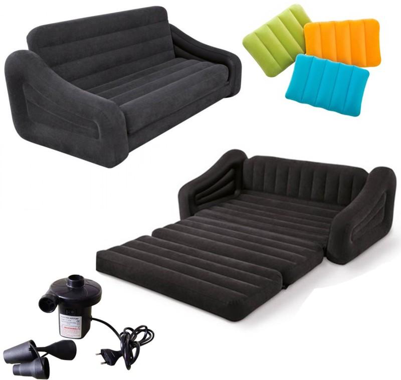 Intex PVC 1 Seater Inflatable Sofa(Color - Black)