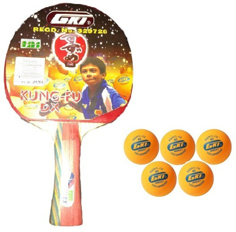 GKI Combo of Two, One 'Kung FU DX ' table tennis racquet and Five 'KUNG FU' Ping Pong Balls- Table Tennis Kit