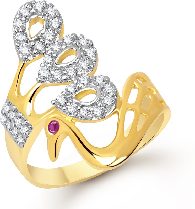 Divastri Splendid Mayur Alloy Cubic Zirconia 18K Yellow Gold Plated Ring