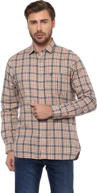 Allen Solly Men Checkered Casual Beige, Dark Blue Shirt