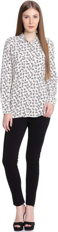 United Colors of Benetton Women Printed Casual White, Black Shirt