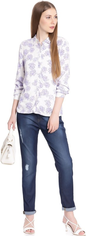 United Colors of Benetton Women Printed Casual White, Blue Shirt