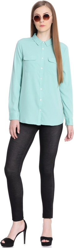 United Colors of Benetton Women Solid Casual Blue Shirt
