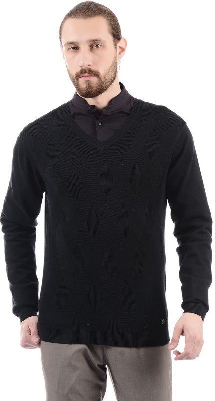 Arrow New York Solid V-neck Casual Men Black Sweater