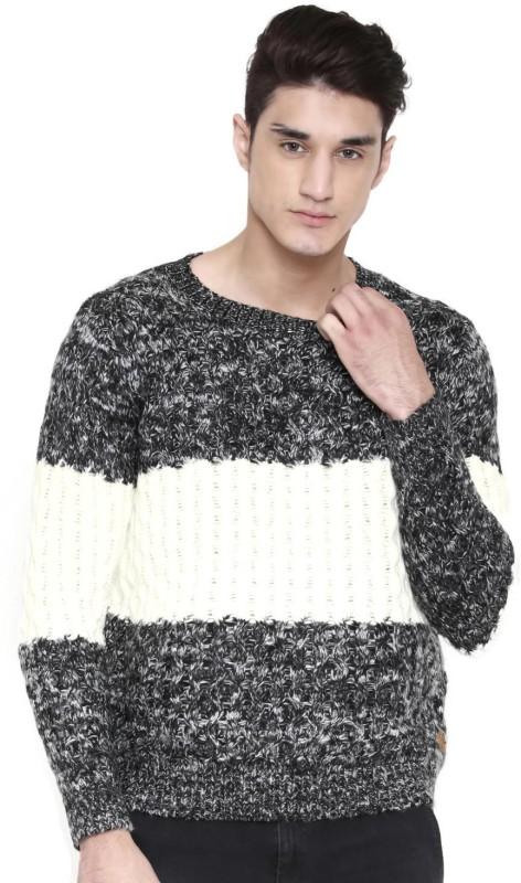 Kook N Keech Self Design Round Neck Casual Men Black, White Sweater