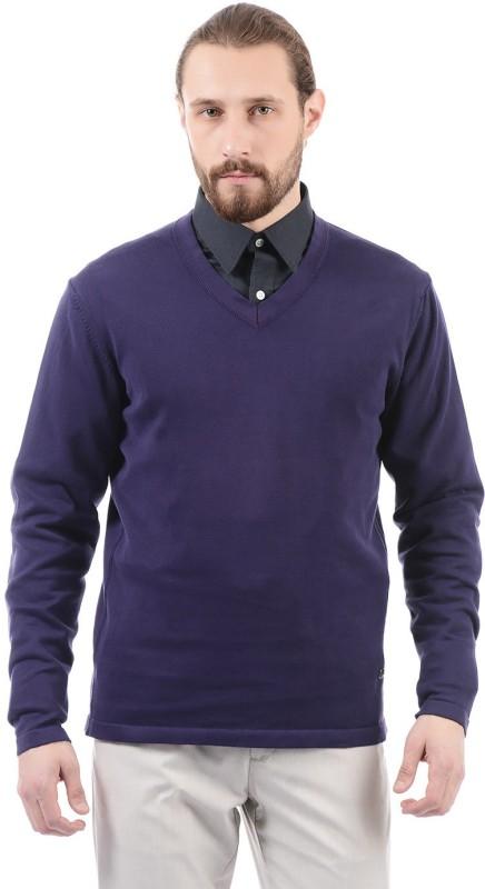 Arrow New York Solid V-neck Casual Men Purple Sweater