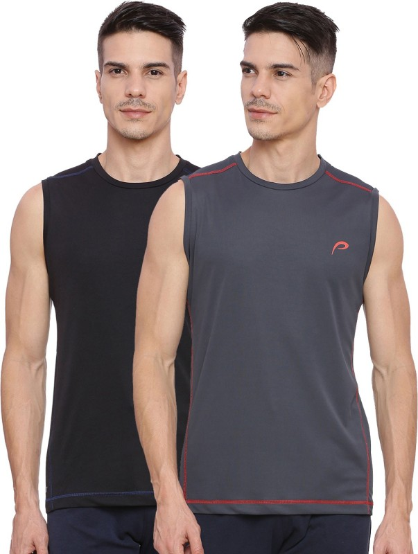 Proline Solid Men Round Neck Black, Grey T-Shirt
