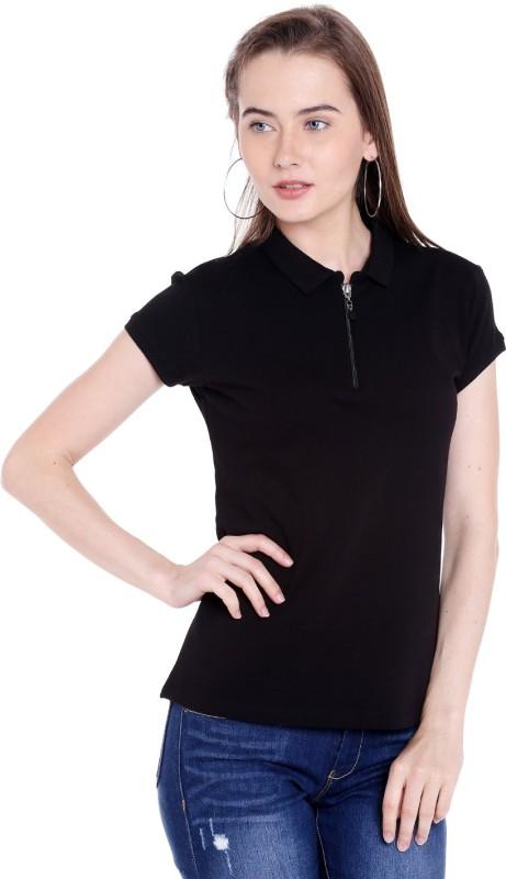 Spykar Solid Womens Polo Neck Black T-Shirt