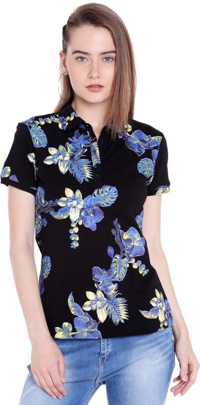 Spykar Printed Womens Polo Neck Black T-Shirt