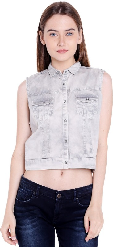 Spykar Casual Sleeveless Solid Women Grey Top