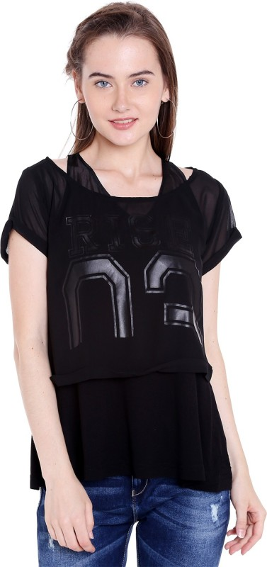 Spykar Casual Half Sleeve Solid Women Black Top