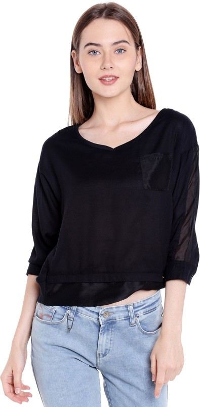 Spykar Casual 3/4th Sleeve Solid Women Black Top