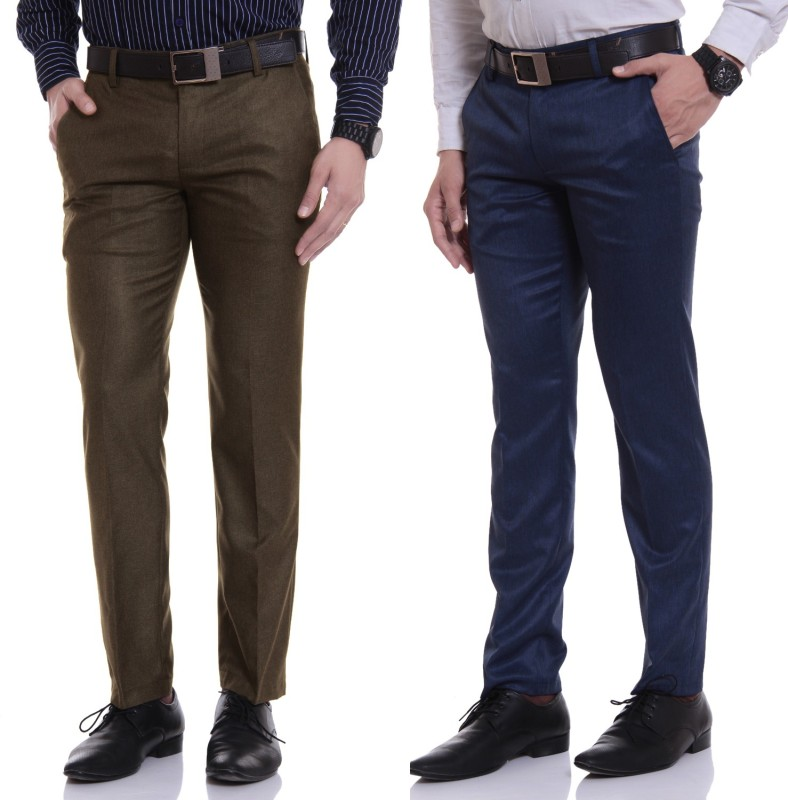 Try This Regular Fit Men's Blue, Brown Trousers