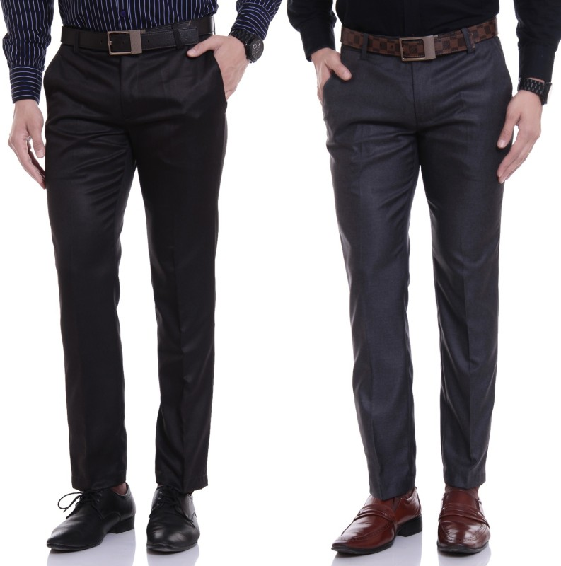 Try This Regular Fit Men's Black, Grey Trousers