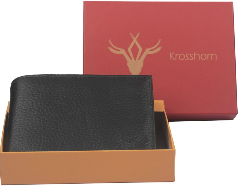 Krosshorn Men Black Genuine Leather Wallet(9 Card Slots)