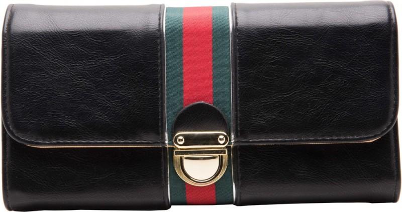 abrazo Women Black Artificial Leather Wallet(5 Card Slots)