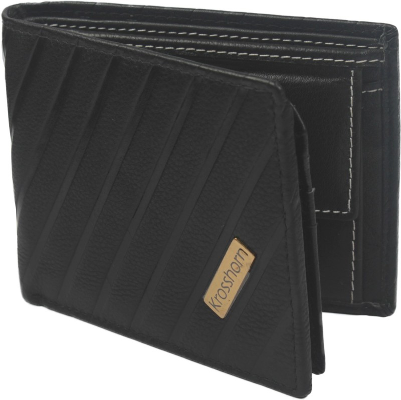 Krosshorn Men Black Genuine Leather Wallet(6 Card Slots)